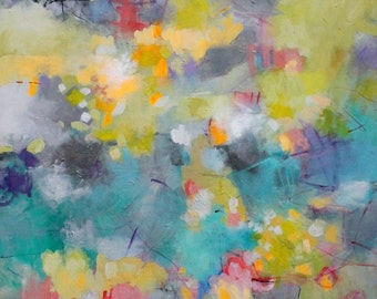 """Large Abstract Painting on Canvas, Colorful, Yellow, Blue """"The Alchemy of Sunshine"""" 36x36"""