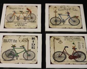 Antique Bicycles Set of 4 Ceramic Drink Coasters