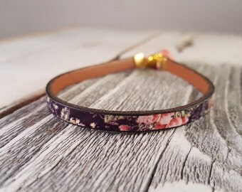 Black & Pink Minimal Printed Leather Stack Bracelet