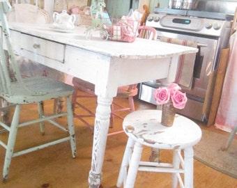 vintage Stoolfarmhouse chippy white wood  side table  stool