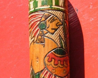 MAYAN INDIAN Folk Art Bat  -  1960s  hand etched and painted  wooden bat  -