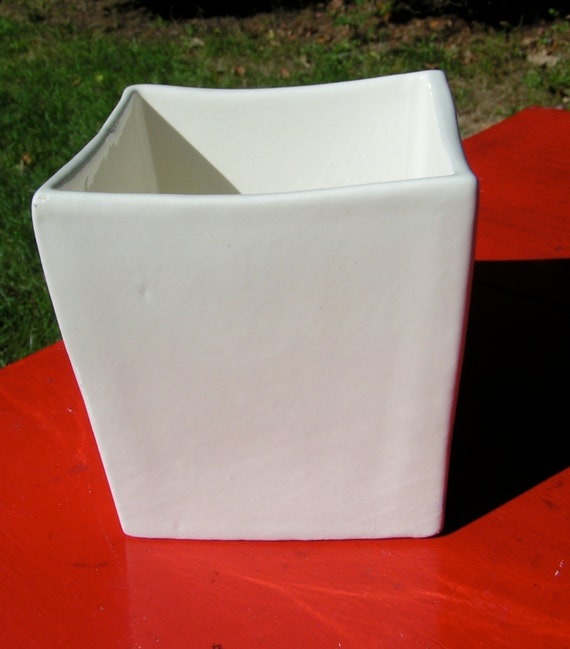 Vintage Haeger 3716 White Ceramic Square Planter