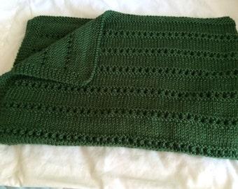 NEW ITEM - Hand Knit Blanket - Dark Sage Green