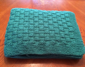 Hand Knit Baby / Toddler Blanket - Jade
