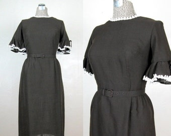 25% Off Summer Sale.... Vintage Early 1960s Dress 60s Brown Cotton Dress with Ruffle Sleeves by Forever Young Size 8/M