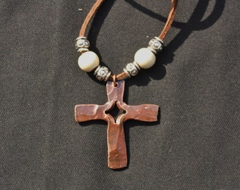 Hand forged copper cross necklace
