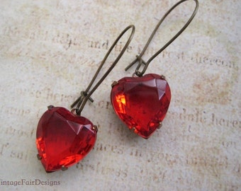 Red Vintage Glass heart earrings.  Siam red heart drop earrings, Valentines Heart Earrings. By Vintagefairdesigns