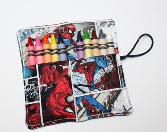 Superhero Party Favors, Crayon Rolls, made from Spiderman Fabric Crayon Roll holds up to 10 Crayons,  PARTY FAVORS Crayon Rolls