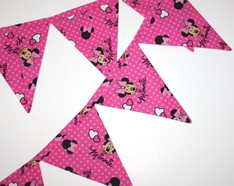 Pink Minnie Fabric Bunting, Banner, made from Minnie Mouse fabric, garland pennant flags, Minnie party bunting Minnie Mouse party