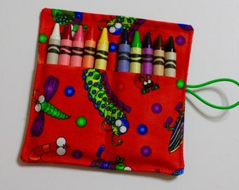 Crayon Rolls, Caterpillar, Insects, Bugs Crayon Roll holds up to 10 Crayons,  BIRTHDAY PARTY FAVORS Crayon Rolls
