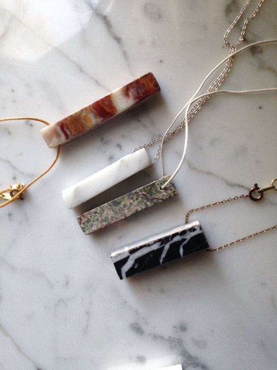 Stone Slab Pendant Necklace // Hand-Cut & Polished Stone // Onyx, Carrara Marble, Black Marble, or Green Marble Brass or Silver