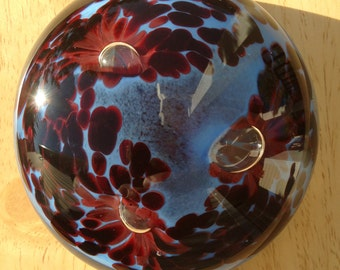 Tri Bubble Bouquet Ruby and Blue - handmade art glass paperweight
