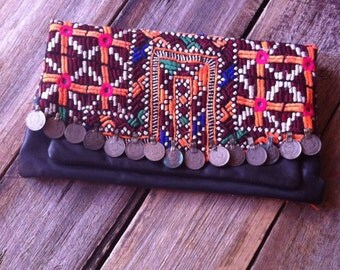 Vintage Banjara Textile/Leather Clutch Purse