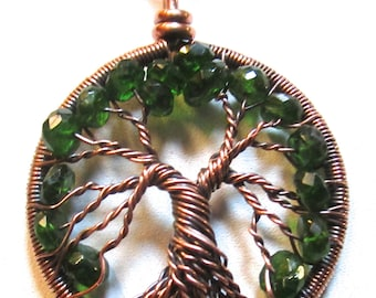 Petite Emerald Tree of Life set in Hand Antiqued Copper Wire, Chrome Diopside Emeralds, Chrome Diopside Unique Tree of Life Pendant