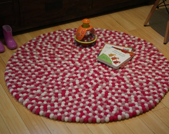 Hot pink, baby pink and white felt ball rug, felt ball rug for girls and kids, handmade felt ball rug, made in Nepal