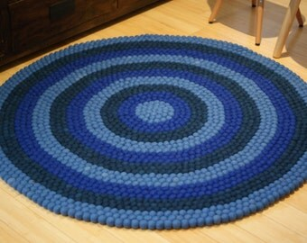 All blue felt ball rug, felt ball rugs, freckle ball, hand made in Nepal