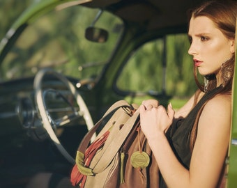 bag big oversize handbag handmade ladybuq Marlena Beige and Brown