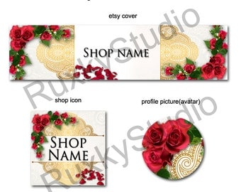 Shop Banner Set shop icon,cover/banner,avatar/profile picture -gold,lace,roses