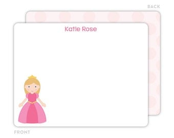 Princess Note Cards - Personalized Flat Note Cards - Princess Notecards - Kids Stationery - Princess Stationery - Kids Thank You Cards
