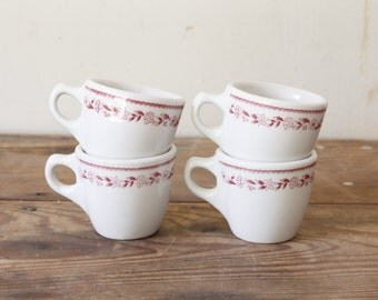Vintage Buffalo China Diner Mugs Rustic Coffee Tea Cups Red Transfer Ware Ironstone Restaurant Ware Mugs Coffee House Mugs