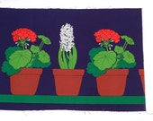 Geraniums and Hyacinth Flower Pots Designed by Anneli Airikka-Lammi Vintage Fin Helen Fabric Panel Printed by E Helenius OY Ruukkukukka