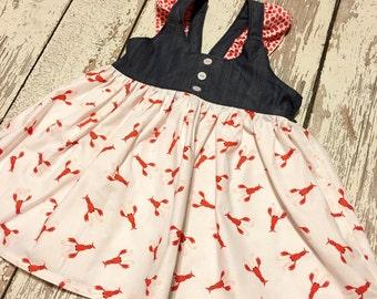 Gemma- crawfish and chambray, crawfish boil dress, crawfish boil party, lobster dress, lobster outfit