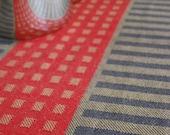 Tea Towel Handwoven Squares & Stripes Cotton/Linen Camel/Charcoal/Red