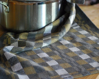 Tea Towel- Quarters- Handwoven Cotton/Linen Charcoal