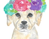 Dog print, dog art, watercolor dog, animal watercolor, flower print, nursery dog print, dog flower crown, rose print, puppy painting