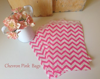 Paper Bags, Chevron Paper Bags, Pink Paper Bags, Hot Pink Paper Bags, Stripe Paper Bags, Gift Bags, Party Favor Bags, Candy Bags 5x7 Pack100