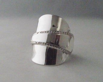 Beautifully Unusual Handmade Antique  Sterling Silver Spoon Ring dated 1929 Jewelry Unique Gift