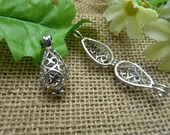 2pcs 12*28mm antique silver white Can open Water droplets shape Wishing Box charms pendant  C7565