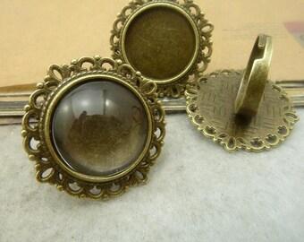 10pcs 20mm pad antique bronze ring base cabochon settings C4993