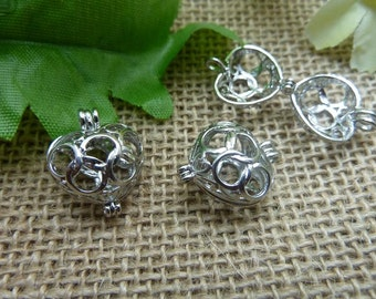 3pcs 11*16*19mm silver colour Can open heart Wishing Box charms pendant C7556
