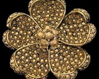 "Hollycraft Gold Brooch Pin Pave Arum Rhinestones Flower Gold Metal 2"" Vintage 1950s"