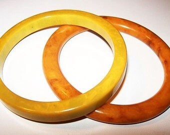 "Two Bakelite Bangle Bracelets Butterscotch & Mustard Yellow 2 1/2"" Vintage Art Deco"