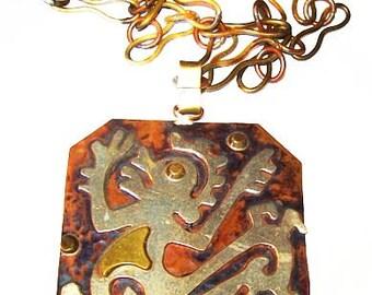 """Mexican Aztec Emblem Pendant Necklace Signed Copper & Brass BIG 30"""" Vintage"""