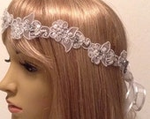 Bridal Lace Headband, Bridal Hairpiece, Rhinestone Pearl Wedding Headband, Tiara, Wedding Hair Accessory
