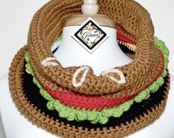 Burger Crochet Cowl- Food Scarf- Crochet Scarf- Women Scarf -Kawaii- Unique Scarf- Neck Warmer-Made To Order