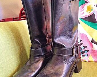 Black leather motorcycle biker high Wrangler boots