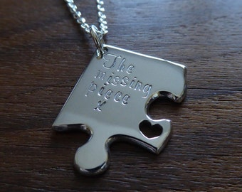 The Missing Piece Silver Jigsaw Puzzle Necklace Pendant