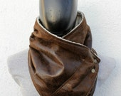 Mens winter. Mens cowl scarf. Unisex scarf. Faux suede and faux lamb fur with metalic snaps . Trendy, modern, chunky  and cozy.