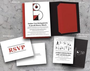 AMBER Geometric Monogram Invitation Suite Printables
