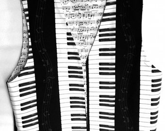 Piano Keys Keyboard Musical Vest Sheet Music Notes Reverse Mens Medium