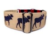 "Moose Lodge Dog Collar - 1"" or 1.5"" Martingale Collar - Moose and Buffalo Plaid Martingale Collar or Buckle Dog Collar, Red and Black Plaid"