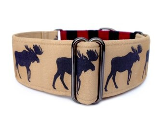 "Moose Lodge Dog Collar - 1"" or 1.5"" Martingale Collar - Moose and Buffalo Plaid Martingale Collar or Buckle Dog Collar, Red and Black Plaid"