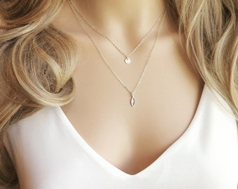 Leaf Layered Necklace - Sterling Silver Initial and Leaf Charm layered Necklace - Personalized Layer Necklace - All  Sterling Silver