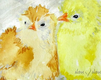 Baby Chickens - Art print of Original Watercolor Painting - 8x10 Kitchen Art