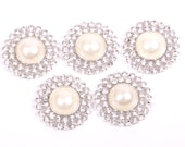 Rhinestone and pearl Buttons, metal - Pearl Drop Button - 26mm SET OF FIVE - white