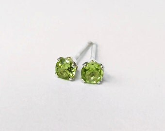 Tiny 3mm Peridot Sterling Silver Claw Stud Earrings